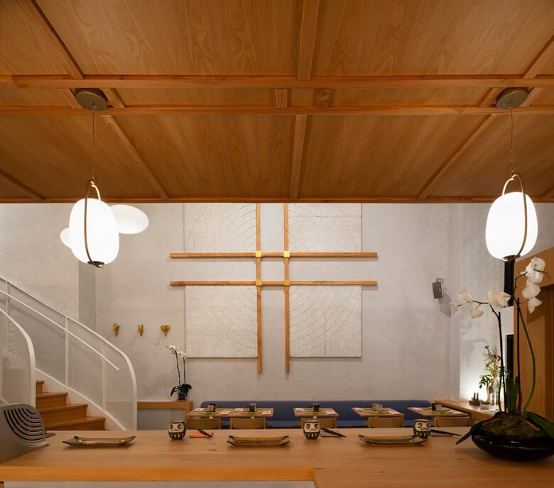 Wooden Interior Japanese Restaurant Design in Italy