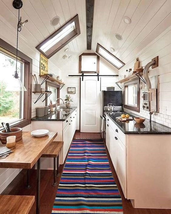 Vertical Narrow Tiny House Kitchen Space