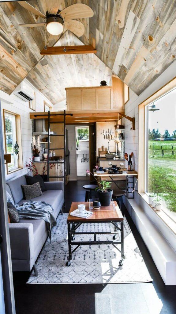Tiny house interior | Vertical Narrow Small House Livingroom