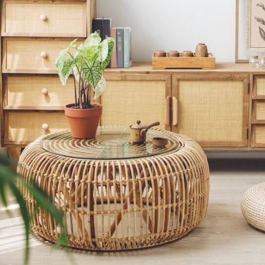 Bamboo-Wooden-Round-Coffee-Table-For-Living-Room