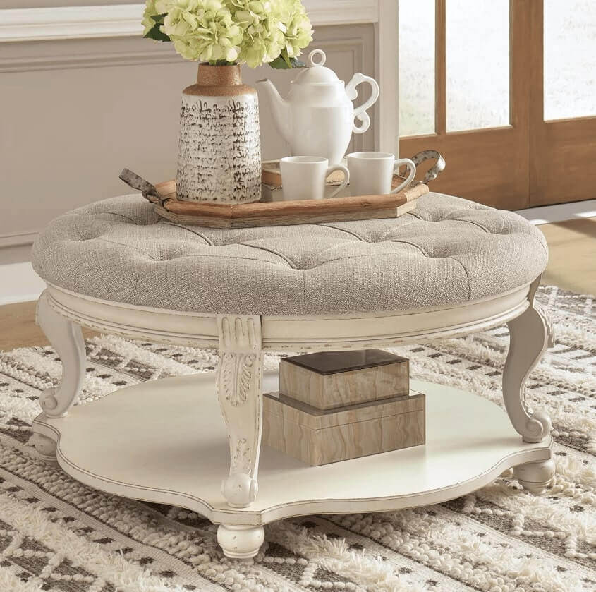 Cushion-Top-Round-Coffee-Table-For-Living-Room