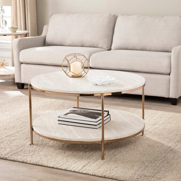Metal Frame Round Coffee Table For Living Room | Faux Marble Round Coffee Table
