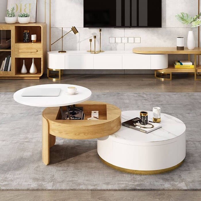 Space Saving Round Coffee Table For Living Room