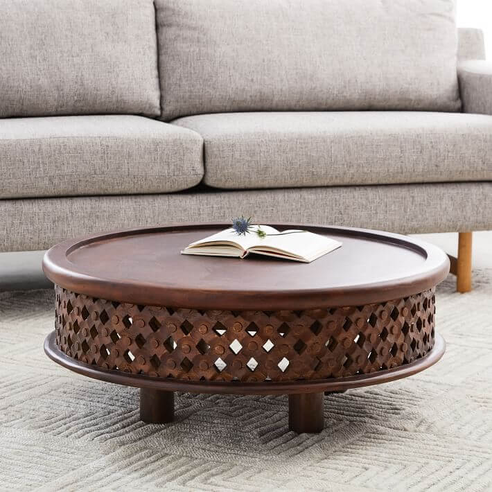 Wooden-Carving-Round-Coffee-Table-For-Living-Room