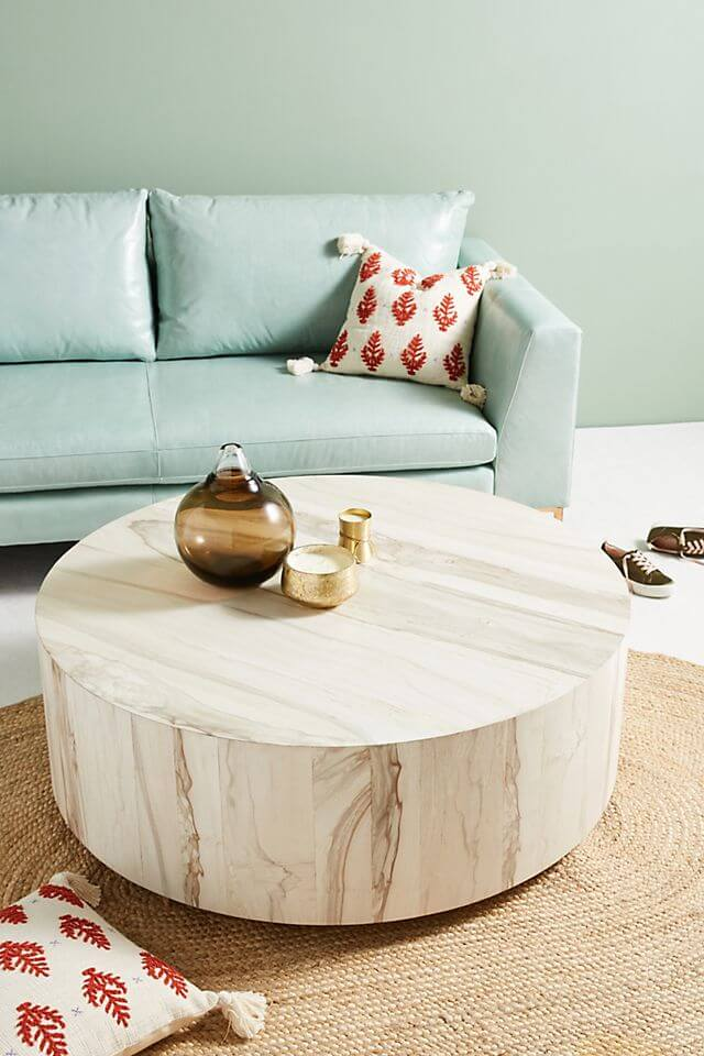 Wooden-Round-Coffee-Table-For-Living-Room