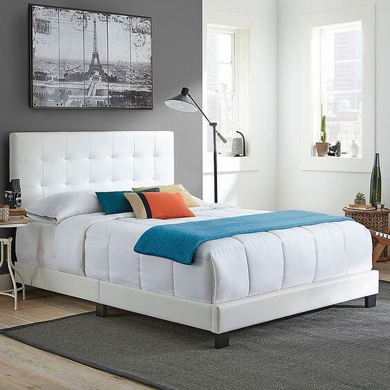 White Tufted headboard bedroom idea