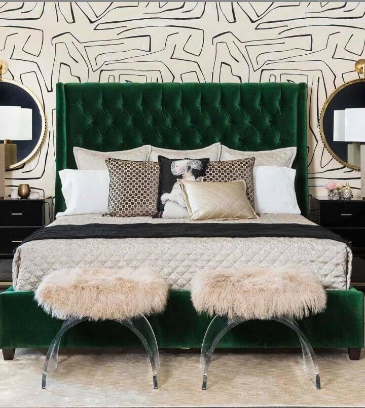 Diamond Tufted headboard bedroom idea