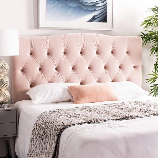 Pink Tufted headboard bedroom idea