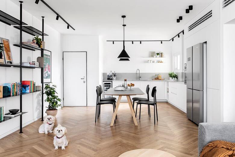 White Apartment Decor Full Kitchen View