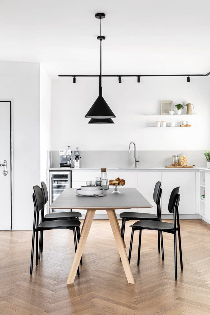 White Apartment Decor Kitchen and Dining